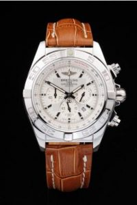 Breitling-Chronomat-White-Surface-Leather-Strap-Watch-BC2284-88